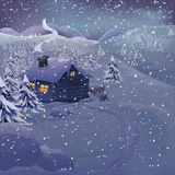 Vector Christmas night landscape Stock Photography