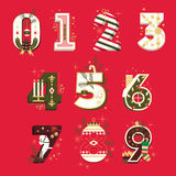 Vector Christmas Numbers , vector illustration set Stock Photos
