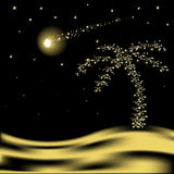 Vector Christmas palm tree. With falling star in desert Royalty Free Stock Images