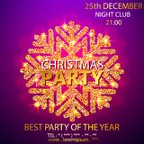 Vector Christmas Party design template. Vector illustration. Holiday Christmas club poster. Party New Year design banner. Vector gold glitter luxury snowflake Stock Image
