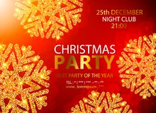 Vector Christmas Party design template. Vector illustration. Holiday Christmas club poster. Party New Year design banner. Vector gold glitter luxury snowflake Stock Photography