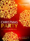Vector Christmas Party design template. Vector illustration. Holiday Christmas club poster. Party New Year design banner. Vector gold glitter luxury snowflake Royalty Free Stock Photography