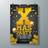 Vector Christmas Party Flyer Design with Holiday Typography Elements and Ornamental Ball, Pine Branch on Black Stock Photography