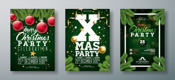 Vector Christmas Party Flyer Design with Holiday Typography Elements and Ornamental Ball, Pine Branch on Dark Green. Background. Premium Celebration Poster vector illustration