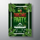 Vector Christmas Party Flyer Design with Holiday Typography Elements and Ornamental Ball, Pine Branch on Dark Green Royalty Free Stock Image