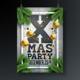 Vector Christmas Party Flyer Design with Holiday Typography Elements and Ornamental Ball, Pine Branch on Folded Paper Stock Photography