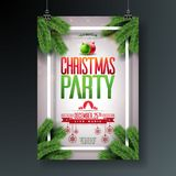 Vector Christmas Party Flyer Design with Holiday Typography Elements and Ornamental Ball, Pine Branch on Shiny Light Stock Photo