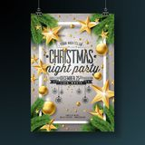Vector Christmas Party Flyer Design with Holiday Typography Elements and Ornamental Ball, Pine Branch on Shiny Light Royalty Free Stock Image