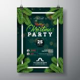 Vector Christmas Party Flyer Design with Holiday Typography Elements and Pine Branch on Dark Green Background. Premium Royalty Free Stock Images