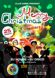 Vector christmas party invitation disco style. Stock Photography