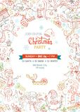 Vector Christmas party invitation template with cute snowmen. Royalty Free Stock Photos