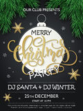 Vector christmas party poster with fir-tree branches, lettering greetings word - christmas on big paper christmas. Ornament with golden stars and snowflakes Royalty Free Stock Image