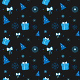 Vector Christmas pattern with Christmas tree, gifts, bows and snowflakes on dark background royalty free illustration