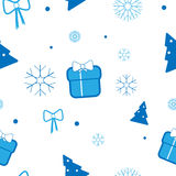 Vector Christmas pattern with Christmas tree, gifts, bows and snowflakes on light background Stock Photos