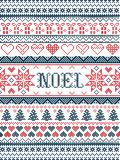 Vector Christmas pattern Noel inspired by festive, winter Nordic culture in cross stitch with hearts, christmas present. Decorative ornaments, snowflake royalty free stock images