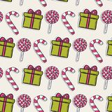 Vector Christmas pattern with pink candy and Stock Photography