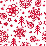 Vector  christmas pattern with snowflakes, christmas trees and stars. Vector abstract christmas pattern with snowflakes, christmas trees and stars Stock Images