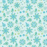 Vector christmas pattern with snowflakes, christmas trees and stars. Vector abstract christmas pattern with snowflakes, christmas trees and stars Royalty Free Stock Photography