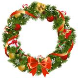 Vector Christmas Pine Wreath with Red Bow vector illustration