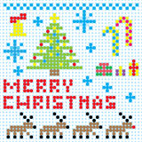 Vector Christmas pixel art. Card Royalty Free Stock Photo