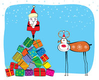 Vector Christmas postcard. Vector cartoons  Santa and deer in winter New Year Royalty Free Stock Image