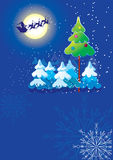 Vector Christmas postcard on blue Royalty Free Stock Photography