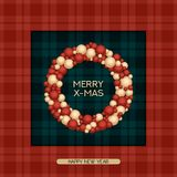 Vector christmas postcard with greeting words, tartan pattern and wreath. design for christmas, cards, presents, covers, p. Vector holiday christmas postcard Royalty Free Stock Photography