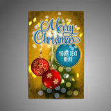 Vector Christmas Poster background with blurred christmas tree and two red christmas balls. Vector. Royalty Free Stock Photos
