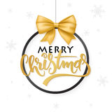 Vector christmas poster with hand lettering golden label christmas in christmas ornament   Stock Image