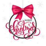 Vector christmas poster with hand lettering golden label christmas Stock Images