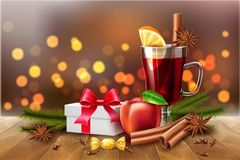 Free Vector Christmas Poster Mulled Wine Present Box Stock Photography - 127657222