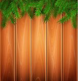 Vector christmas poster spruce tree branch wooden. Vector christmas poster, banner background with spruce tree twigs on wooden plank wall backdrop. New year stock illustration