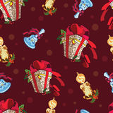 Vector Christmas Presents Bells Candles Dark Red Royalty Free Stock Image