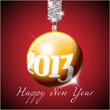 Vector Christmas realistic bauble 2013. Vector golden Christmas realistic bauble with the numbers of new year 2013 Stock Photos