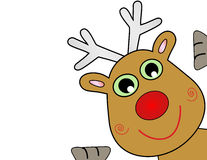 Vector Christmas Reindeer. Popping out of corner Stock Photo