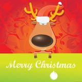Vector Christmas reindeer holding green banner Royalty Free Stock Image
