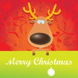 Vector Christmas reindeer holding green banner Royalty Free Stock Photo