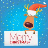Vector Christmas reindeer holding white banner Stock Photos
