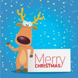 Vector Christmas reindeer holding white banner Royalty Free Stock Images