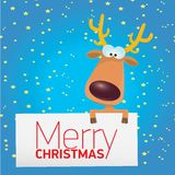 Vector Christmas reindeer holding white banner Stock Images