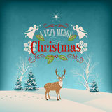 Vector Christmas Retro Greeting Card Royalty Free Stock Photo