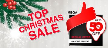 Vector christmas sale banner. Illustration for use website, brochure, flyer, poster and banner. Business background with 50 off, royalty free stock photos
