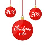 Vector Christmas red balls with sale for ad poster, banner royalty free stock photo
