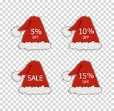 Vector Christmas Sale Labels, Different Discounts, Santa and Elf Red Hats, Decorative Elements. royalty free illustration
