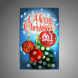 Vector Christmas Sale Poster background with blurred christmas tree and two red christmas balls. Vector. Stock Photo