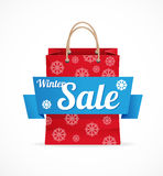 Vector Christmas sale red paper bag on white Stock Photography