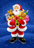 Vector Christmas Santa Claus with gifts Royalty Free Stock Photo