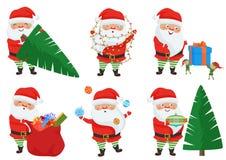 Vector Christmas Santa Claus poses set. Stock Photo