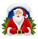Vector Christmas Santa Claus in window Stock Photos