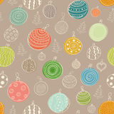 Vector Christmas seamless background. Vector Christmas seamless pattern with balls and Christmas trees Stock Image
